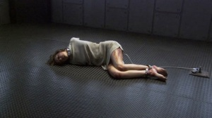 The torture of Gina, the captured Cyclon Six model, aboard the Pegasus on Battlestar Galactica.